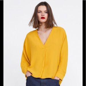 Zara Mustard Yellow Oversize Blouse 9479/045 sz XL